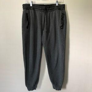 Guess Men's Faux Leather Trim Joggers Gray M